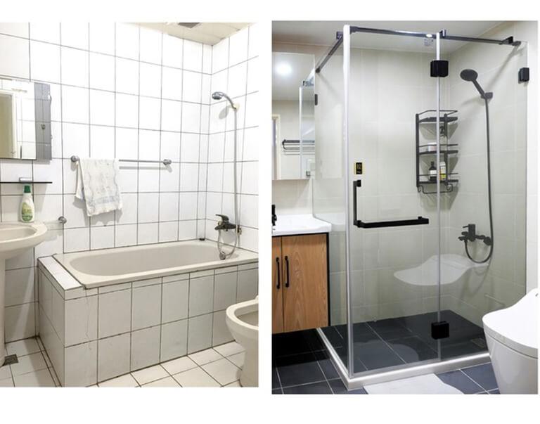 開箱-老浴室翻新、乾濕分離、淋浴拉門分享 (2)